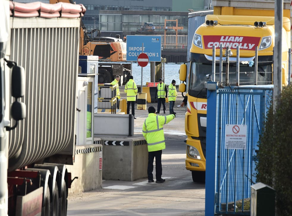 <p>Port inspection staff check goods arriving in Northern Ireland from Scotland </p>