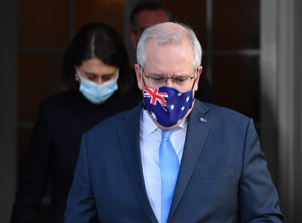 <p>Australian Prime Minister Scott Morrison and New South Wales Premier Gladys Berejiklian at Kirribilli House in Sydney, New South Wales</p>