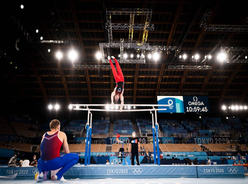 <p>A Russian gymnast takes part in a training session at the Ariake Gymnastics Centre in Tokyo</p>