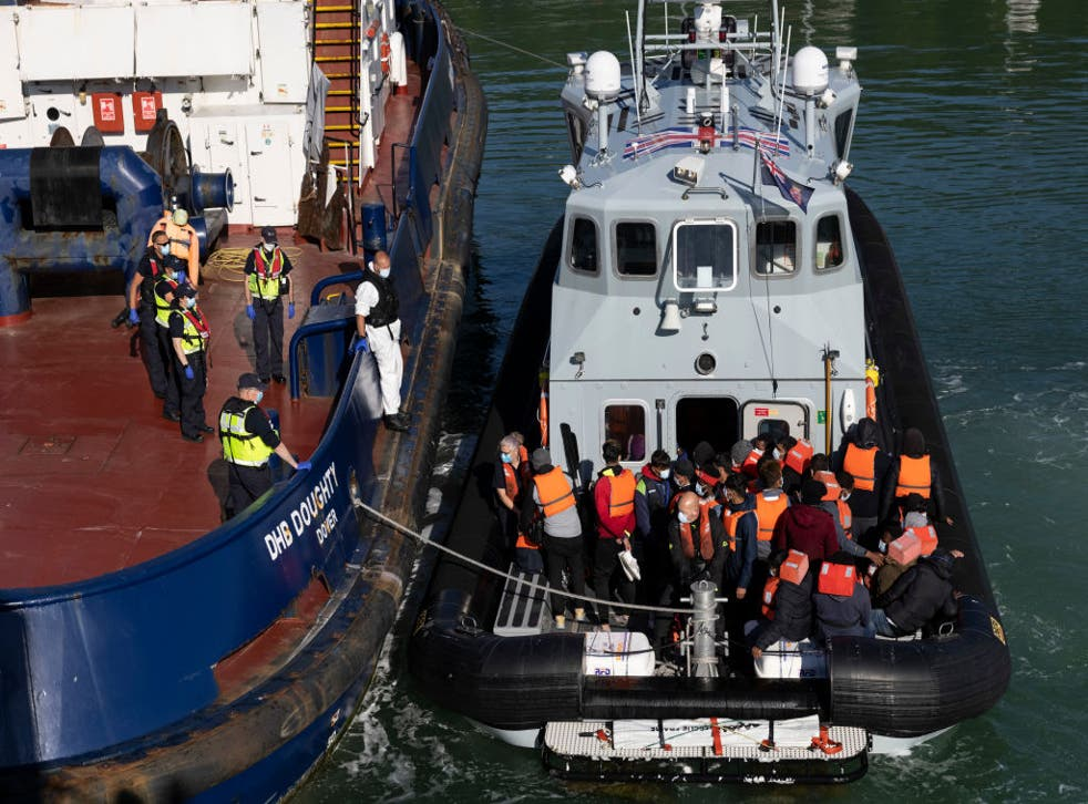 <p>A border force vessel carries newly arrived migrants after being picked up in a dinghy in the English Channel on 9 June  in Dover. More than 500 migrants arrived in the final week of May, according to the UK Home Office</p>