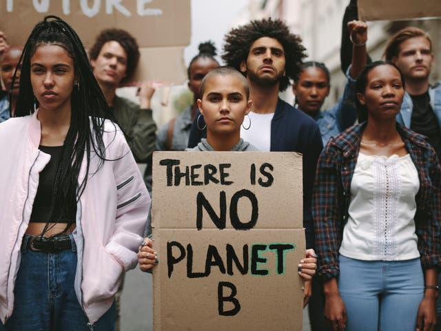 <p>Activists protest over pollution and global warming</p>