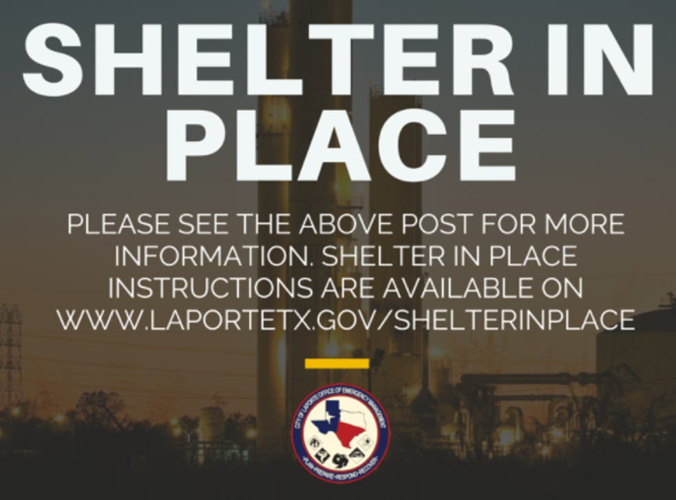"""<p>A """"shelter in place"""" warning issued by authorities in Texas following an incident at a Dow Chemical plant in La Porte.</p>"""