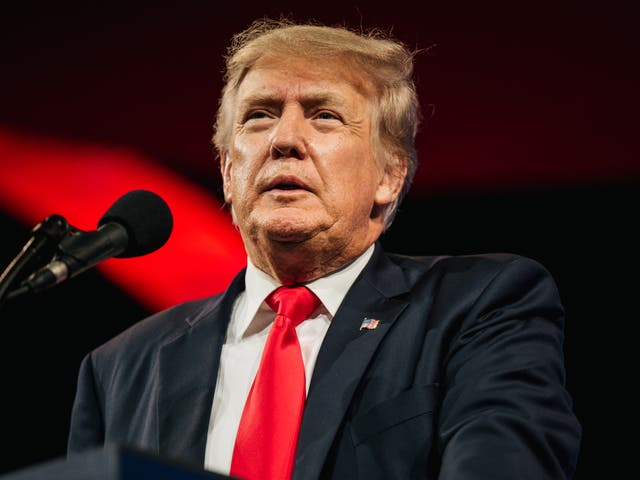 <p>El ex presidente de los Estados Unidos, Donald Trump, se prepara para hablar durante la Conferencia de Acción Política Conservadora CPAC celebrada en el Hilton Anatole el 11 de julio de 2021 en Dallas, Texas.</p>