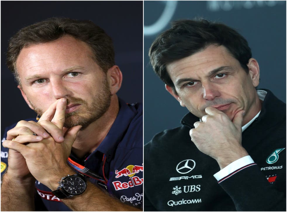 <p>Christian Horner, left, and Toto Wolff, right, visited the stewards after Lewis Hamilton's crash with Max Verstappen (David Davies/Tim Goode/PA)</p>