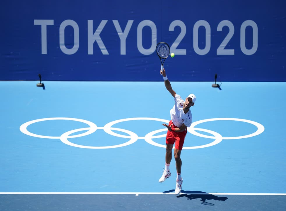 <p>Novak Djokovic practices at the Ariake Tennis Park (Mike Egerton/PA)</p>