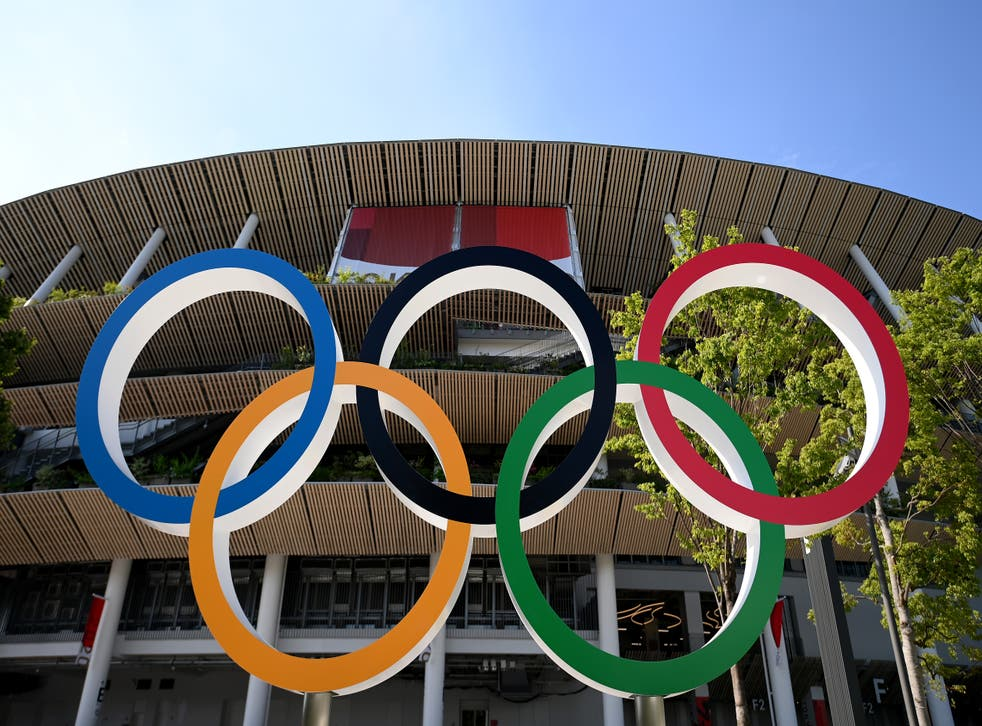<p>The Olympic rings outside of the stadium prior to the opening ceremony</p>