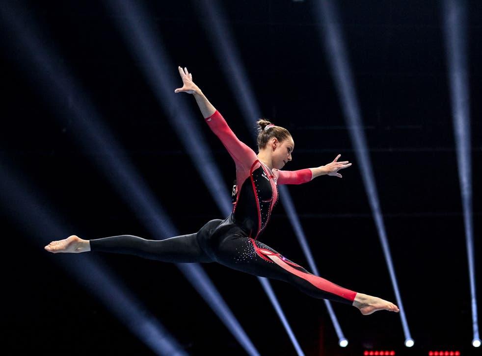 <p>Sarah Voss at the European Artistic Gymnastics Championships in April</p>