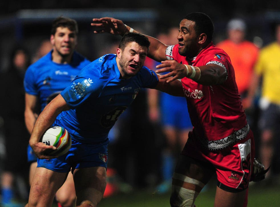 <p>Australia full-back James Tedesco is pictured playing for Italy in the 2013 World Cup and he could be back playing for Azzurri this year (PA Archive)</p>