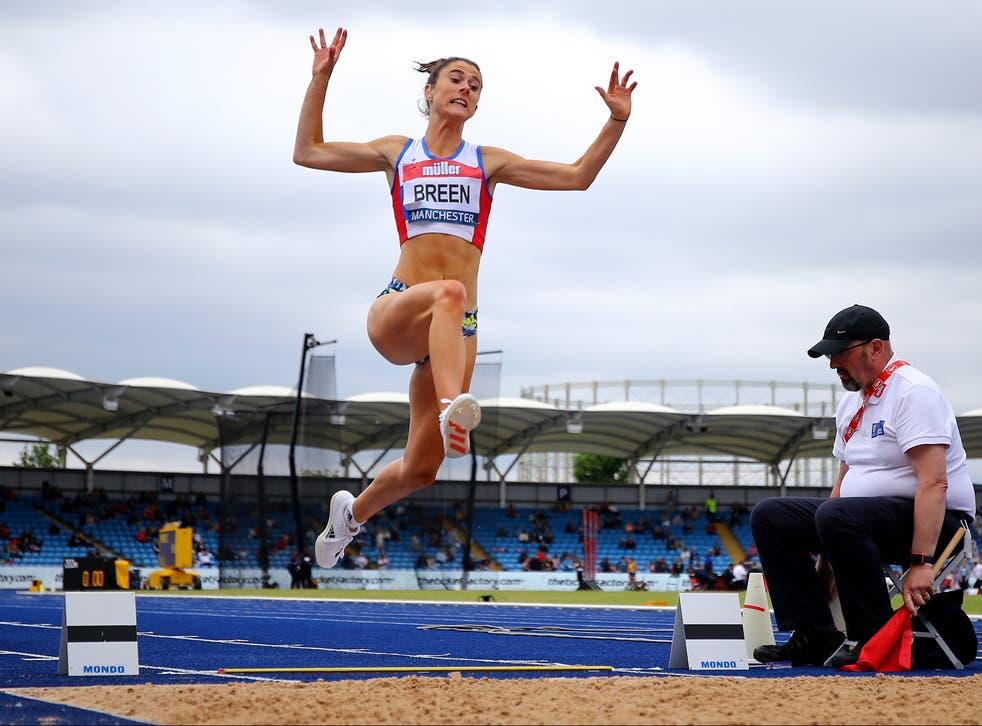 <p>British Paralympian Olivia Breen performing a long jump </p>