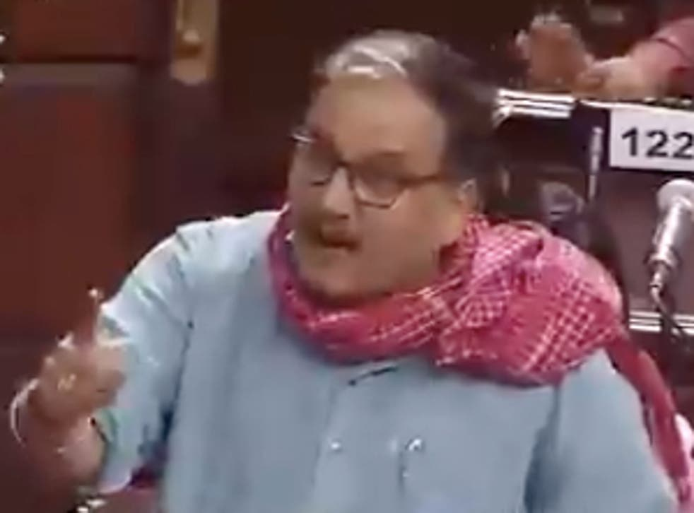 <p>Manoj Jha, a member of India's upper House, delivered a fiery speech on Tuesday attacking the government over the death toll from the pandemic</p>