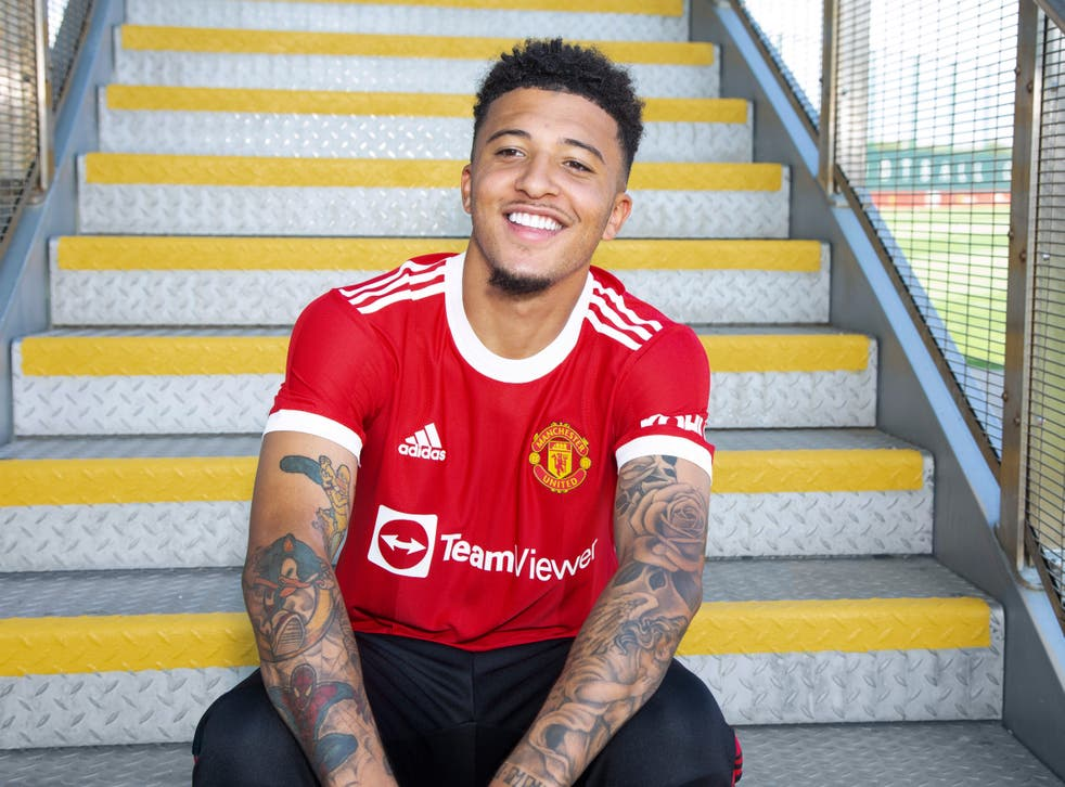 <p>New signing Jadon Sancho of Manchester United is unveiled at the Carrington Training Ground</p>