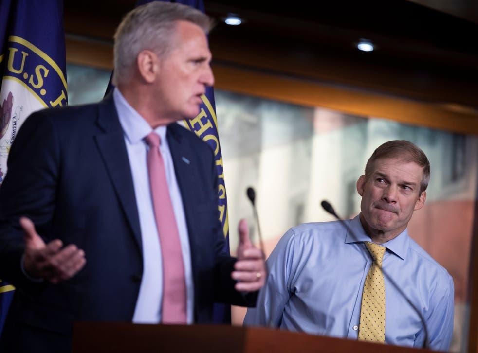 <p>House Minority Leader Kevin McCarthy (L) and Congressman Jim Jordan</p>