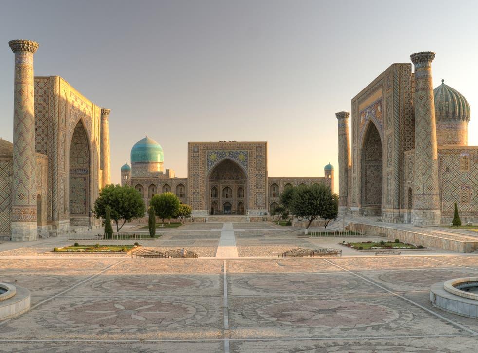<p>Golden road: Registan Square in Samarkand, Uzbekistan</p>
