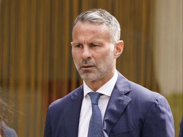 <p>Former Manchester United footballer Ryan Giggs arrives at Manchester Crown Court where he is charged with assaulting two women and controlling or coercive behaviour</p>