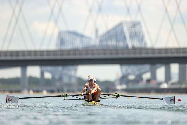 <p>Polly Swann and Helen Glover during their heat</p>