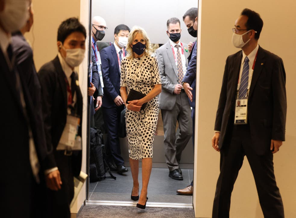 <p>Jill Biden wore a white and black Brandon Maxwell polka dot dress to the opening ceremony</p>