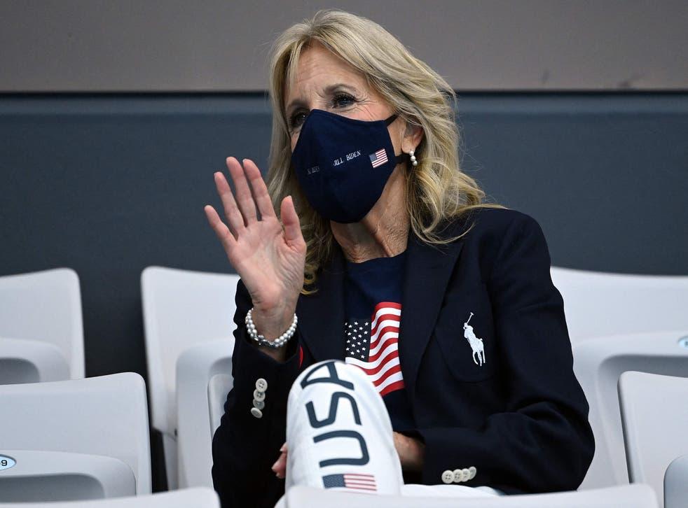<p>Jill Biden wears official Team USA Ralph Lauren outfit at Olympics</p>