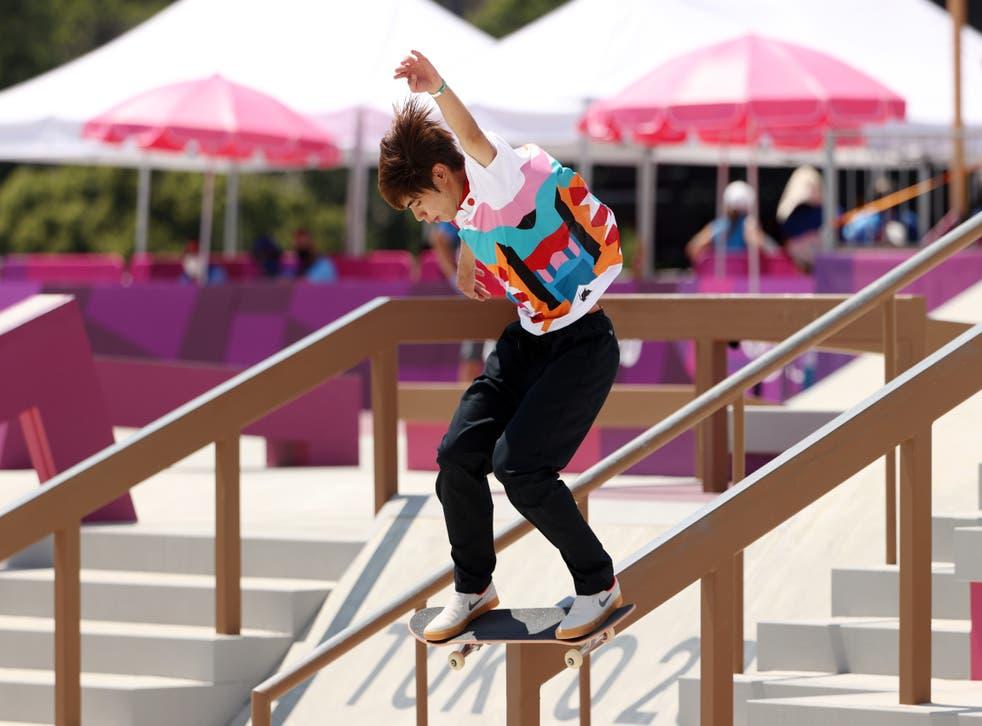 <p>Yuto Horigome competes in the men's street final</p>