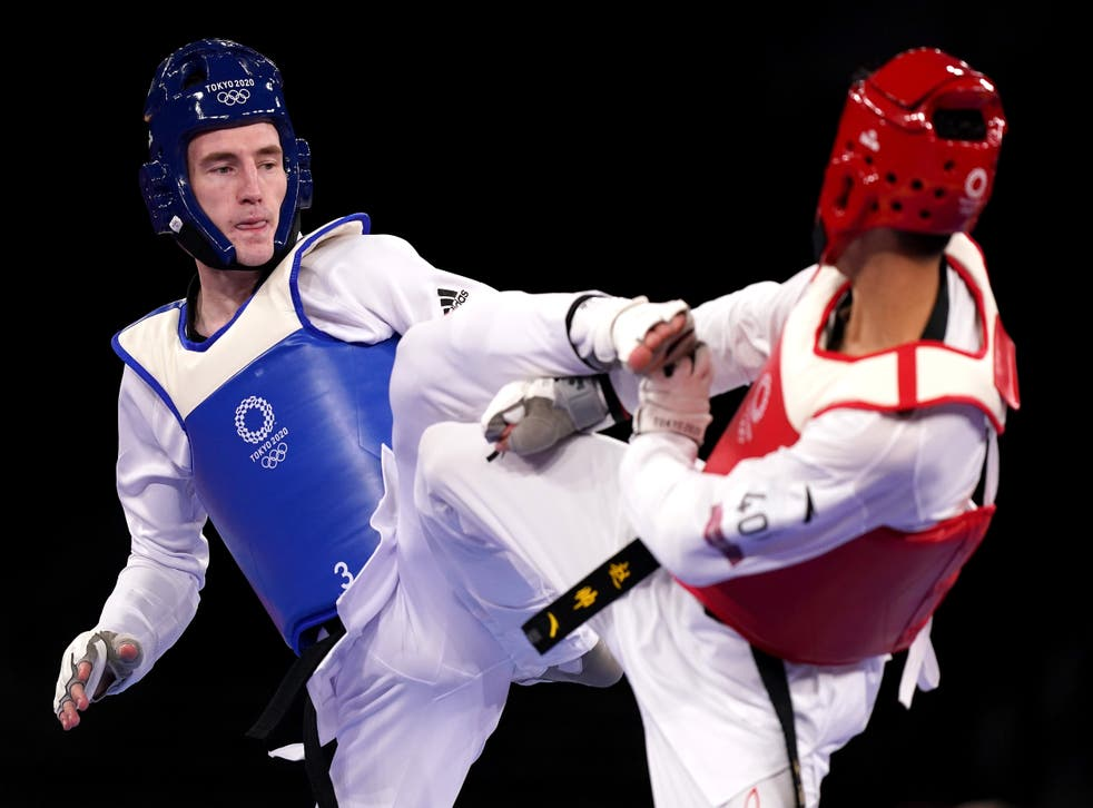 <p>Bradly Sinden reached the men's taekwondo final with victory over Shuai Zhao (Mike Egerton/PA)</p>