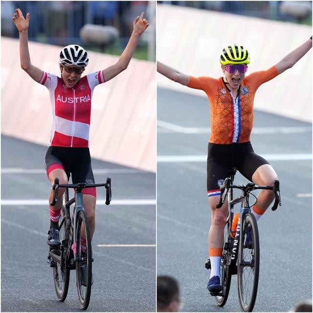 <p>Annemiek van Vleuten (right) thought she had won (Martin Rickett/PA)</p>