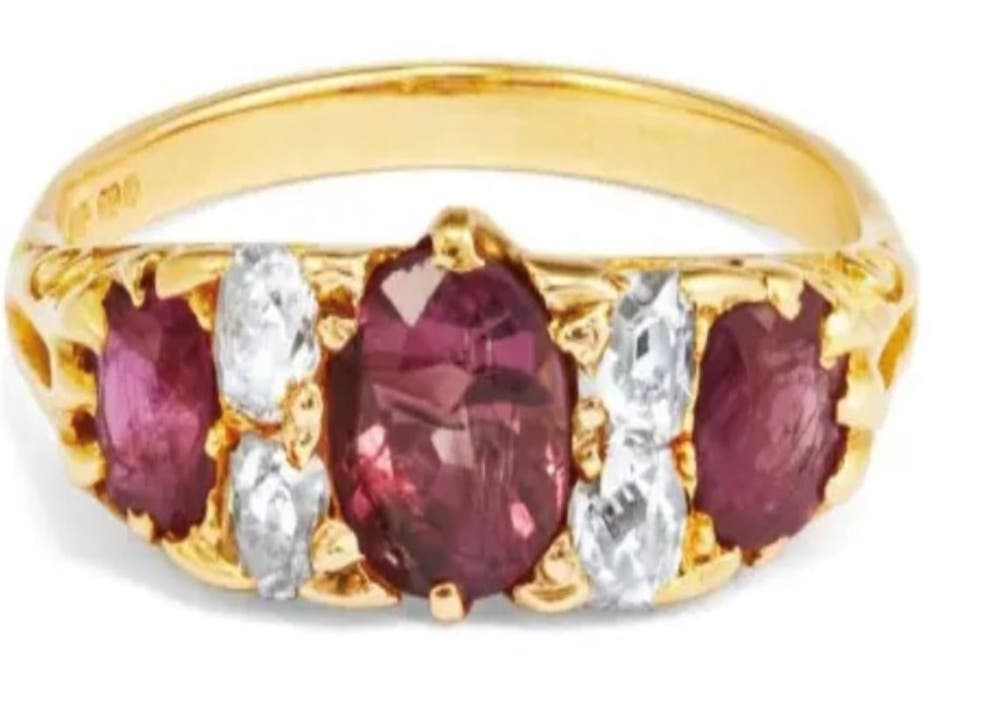 <p>Ruby and diamond eternity band similar to that of an elderly woman's, that was stolen from her finger in at Broomfield Hospital in Chelmsford, Essex, where she died</p>