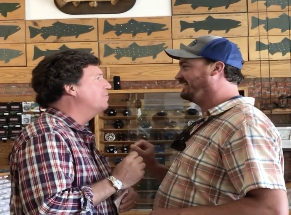 <p>A man posted a video of himself telling Tucker Carlson that he was 'the worst person alive' in a fishing goods store in Montana</p>