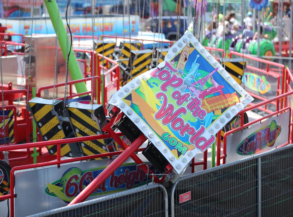 <p>The Star Flyer funfair ride at Planet Fun in Carrickfergus, Co Antrim, which collapsed on Saturday evening, injuring six people</p>