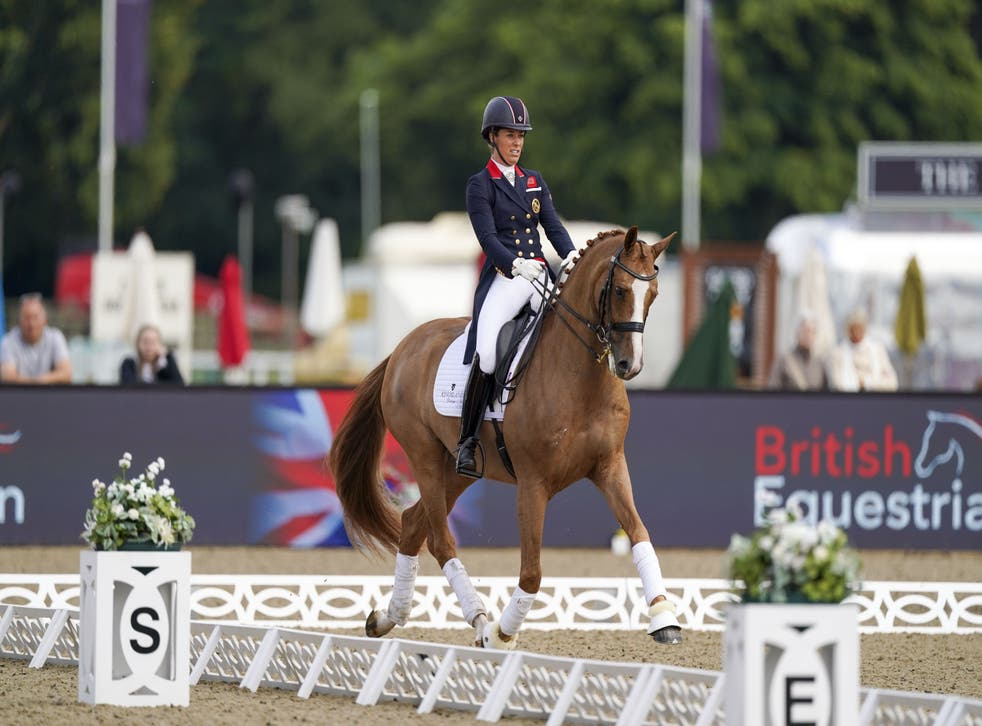 <p>Charlotte Dujardin and her Tokyo Olympics horse Gio (Steve Parsons/PA)</p>