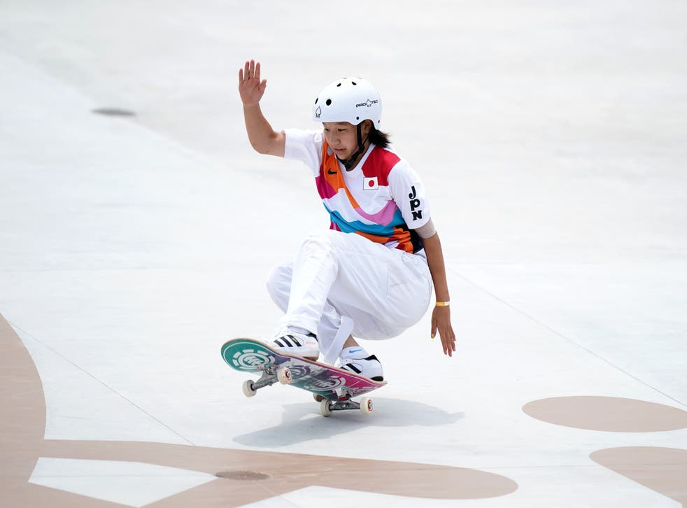 Japan's Momiji Nishiya during the Women's Street Final at the Ariake Urban Sports Park on the third day of the Tokyo 2020 Olympic Games in Japan (PA)