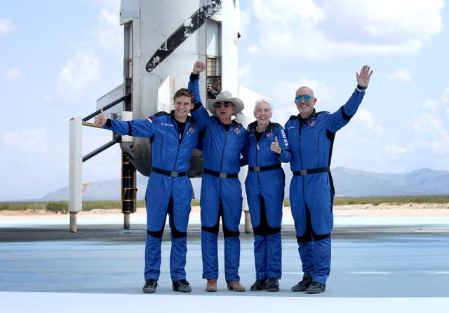 <p>Blue Origin's New Shepard crew (L-R) Oliver Daemen, Jeff Bezos, Wally Funk, and Mark Bezos pose for a picture after flying into space in the Blue Origin New Shepard in Van Horn, Texas</p>