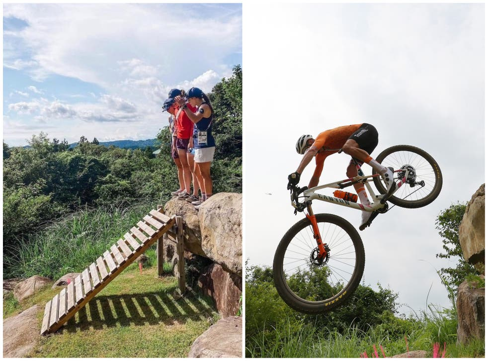 <p>Mathieu van der Poel, right, crashes after the ramp, left, was removed</p>