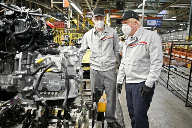 <p>Prime minister Boris Johnson during a recent visit to the Nissan plant in Sunderland </p>