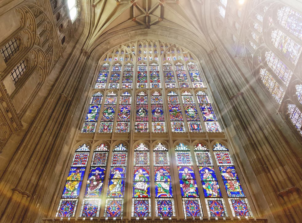 <p>Two of the figures dating back to the 12th century are today part of the South Window at Canterbury Cathedral</p>