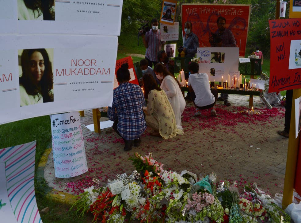<p>Women rights activists light candles at a park in Islamabad against the brutal killing of Noor Mukadam, the daughter of former Pakistan envoy to South Korea, in the federal capital last week</p>