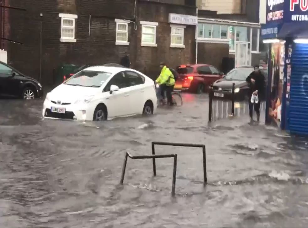 <p>Heavy rain in London on Sunday  caused flash floods in many parts of the capital</p>