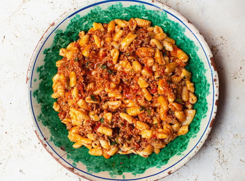 <p>Cavatelli with sausage, mint and tomato: a swift, simple and satisfying mid-week pasta dish</p>