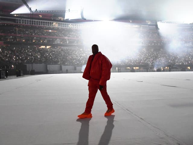 <p>Kanye West at his Donda listening party </p>