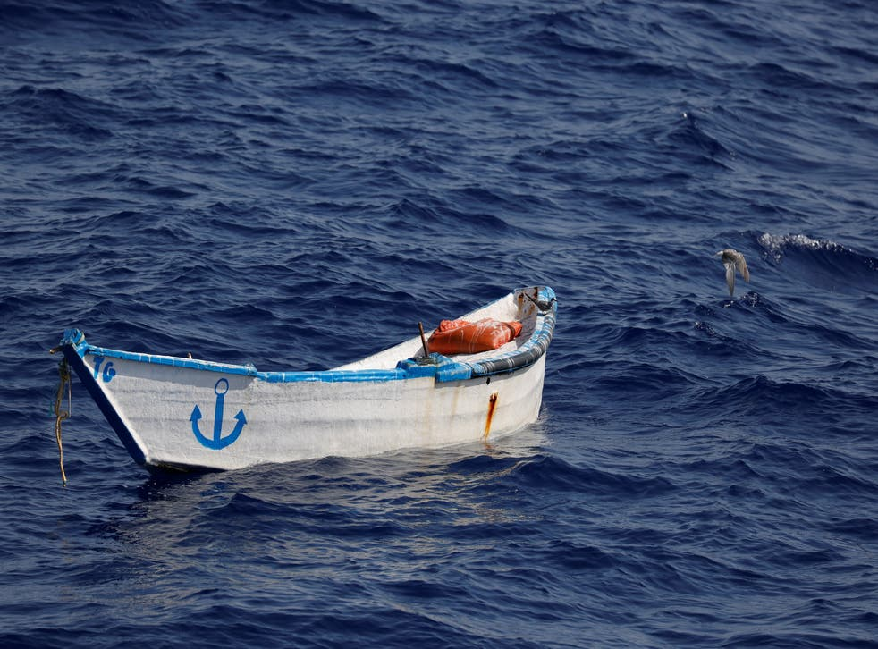 <p>An abandoned wooden boat found by a German charity migrant rescue ship off the North African coast</p>