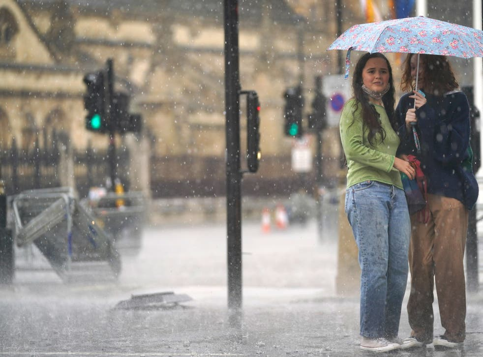 <p>Torrential rain hammered London on Sunday, causing serious flooding in many places</p>