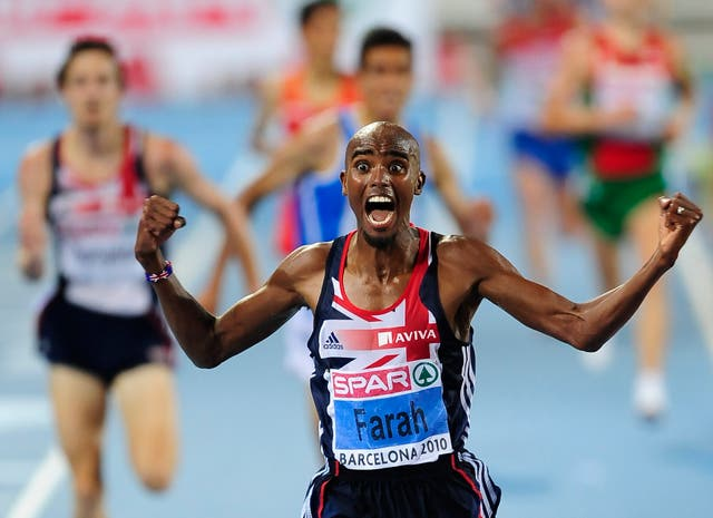 On this day in 2010, Sir Mo Farah won gold for Great Britain in the 10,000 metres at the European Championships in Barcelona (John Giles/PA)