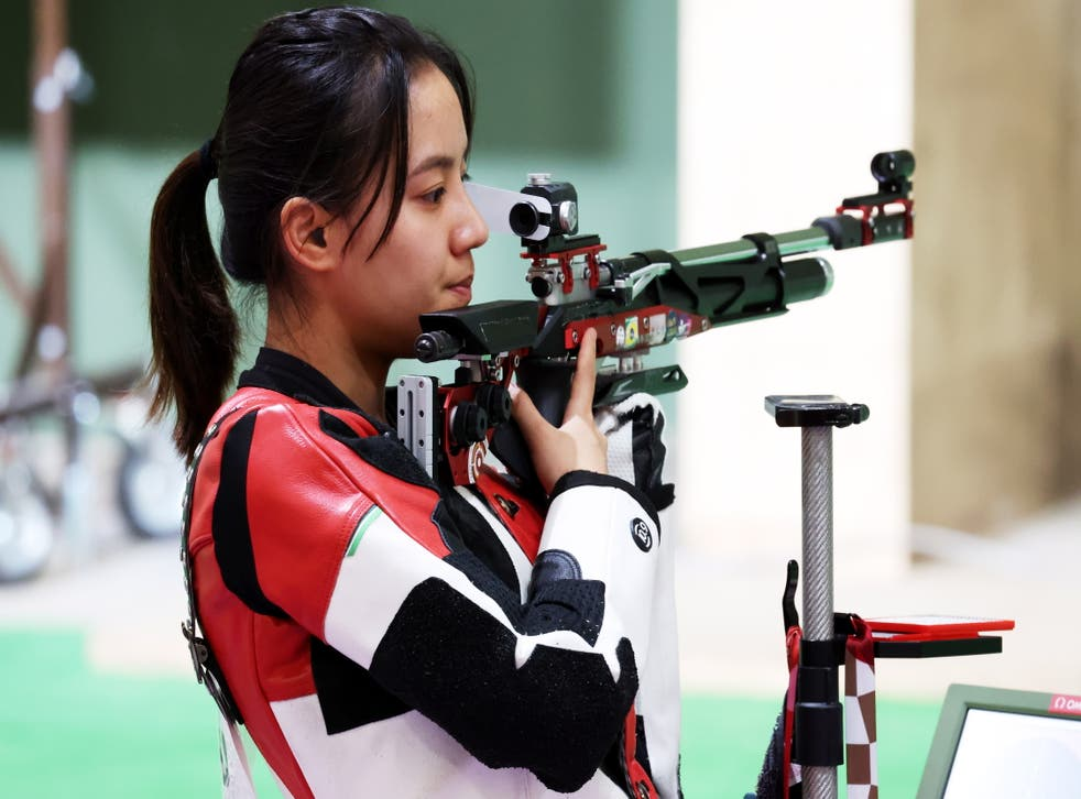 <p>Luyao Wang of China during the 10m Air Rifle Women's Qualification of the Shooting events of the Tokyo 2020 Olympic Games</p>