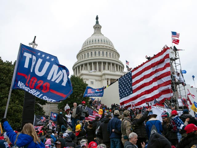 <p>Trump supporters descend on the Capitol, 6 January 2021</p>