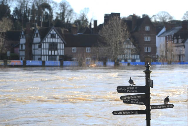<p>Flood defences in Bewdley, Worcestershire (PA)</p>
