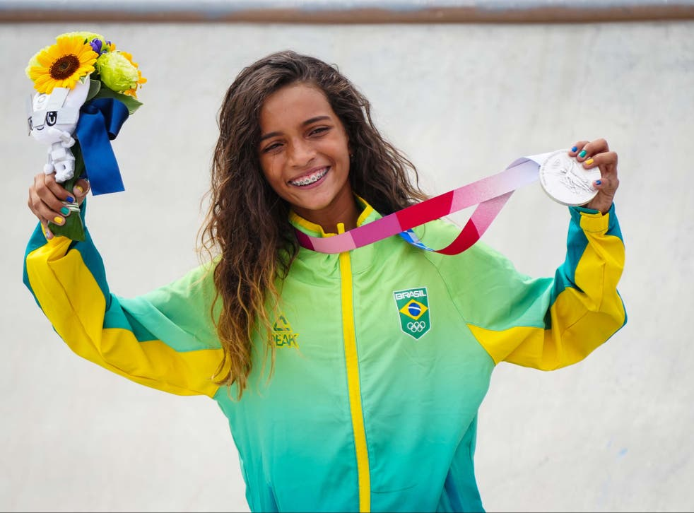 <p>Rayssa Leal of Brazil (Silver medal) during the Women's Street Competition at Ariake Urban Sports Park on 26 July 2021 in Tokyo</p>