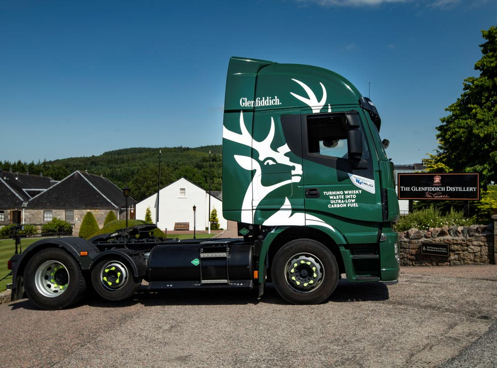<p>One of the new Glenfiddich delivery lorries which runs on by-products from whisky production</p>