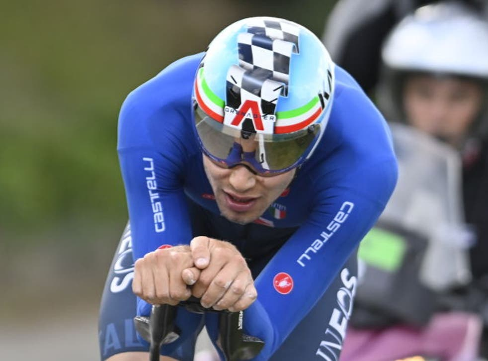 <p>Ganna is the reigning world time trial champion</p>