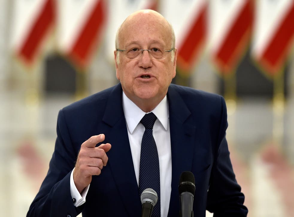 <p>Prime Minister-designate Najib Mikati speaks to the media after his meeting with President Michel Aoun and assigned to form a new government</p>