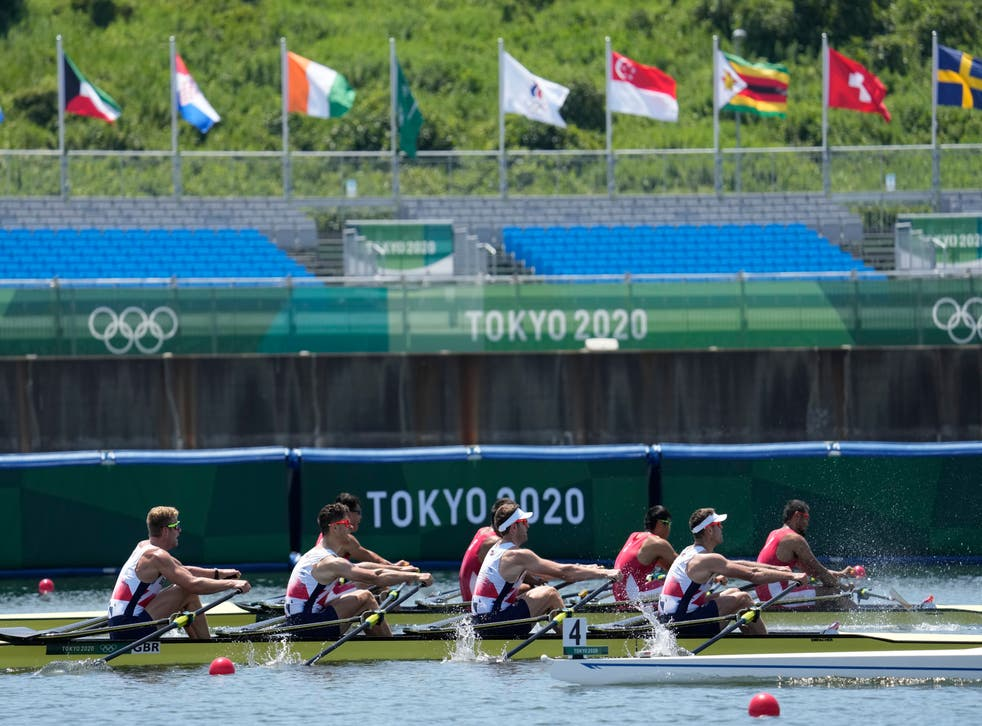Harry Leask, Angus Groom, Tom Barras and Jack Beaumont took silver for Great Britain (Lee Jin-man/AP)