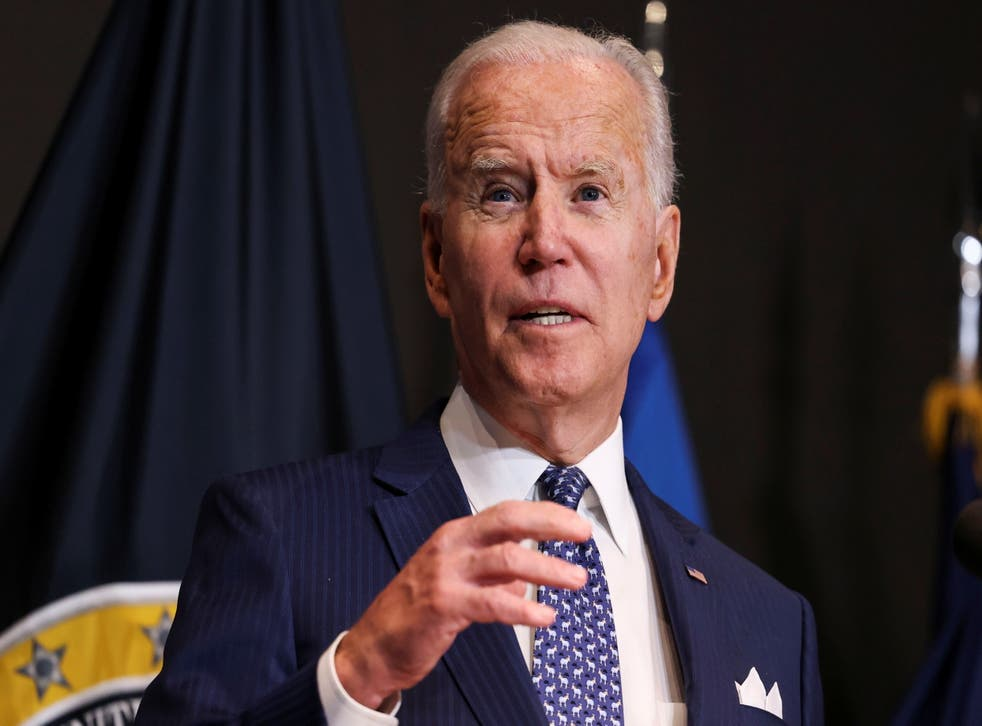 <p>File: Joe Biden delivers remarks as he visits the Office of the Director of National Intelligence in McLean, Virginia on 27 July 2021</p>