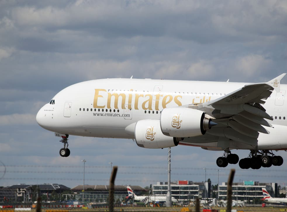 The head of airline Emirates' UK operations has expressed his frustration that the United Arab Emirates is still on the red travel list (Steve Parsons/PA)